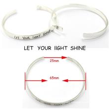Fashion Customerized Engrave Messages Sterling Silver Bracelet Bangle