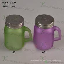Color Nin S / P Lid Mini Jar Clear avec poignée Glass Mason Jars à vendre