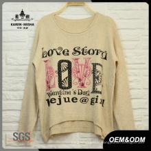 Women Loose Crop Letters Sweater