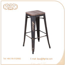 Taburete de bar de madera de metal industrial de China con reposapiés Taburete de bar de madera de metal industrial de China con reposapiés