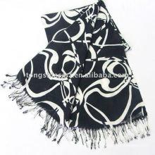 Cachecol xale / lenço preto e branco clássico