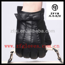 leather bow cuff short driving glove
