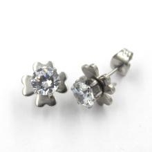 Flower Shaped Silver Stainless Steel Fashion Jewelry Earrings