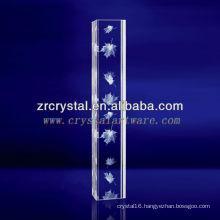 K9 3D Laser Maple Leaf Etched Crystal with Pillar Shape