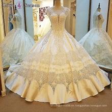 LS00107 cuello del o de la manga del casquillo mejores vestidos de boda atractivos elegantes de la cola del vestido de bola de la tela del cordón mejores