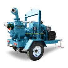 Skid Mounted Diesel Water Pump Set with 4 Wheels Trailer