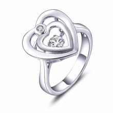 Double Heart Dancing Diamond Jewelry 925 Silver Rings
