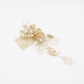Venta al por mayor accesorios para el cabello hechos a mano desfile corona redonda perla hoja de cristal tocado de boda peine de cristal peine de novia