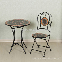 Mobiliário de jardim móvel mesa e cadeira de mosaico