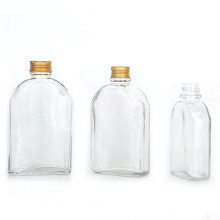 Custom flat clear 250ml cold brew coffee beverage glass bottle with aluminum screw lid