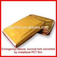 Gold Silber Farbe Polyester Überleben Zelt / Decke