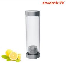 Bouteille d'eau de verre unique avec couvercle ss et infuseur
