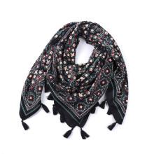 New women soft feeling fashion scarf shawl square cotton tassels printed floral lady square Viscose scarf