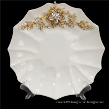 Hot Sale Eco-Friendly white inlay gold and crystal flower western porcelain plate ceramic household tableware