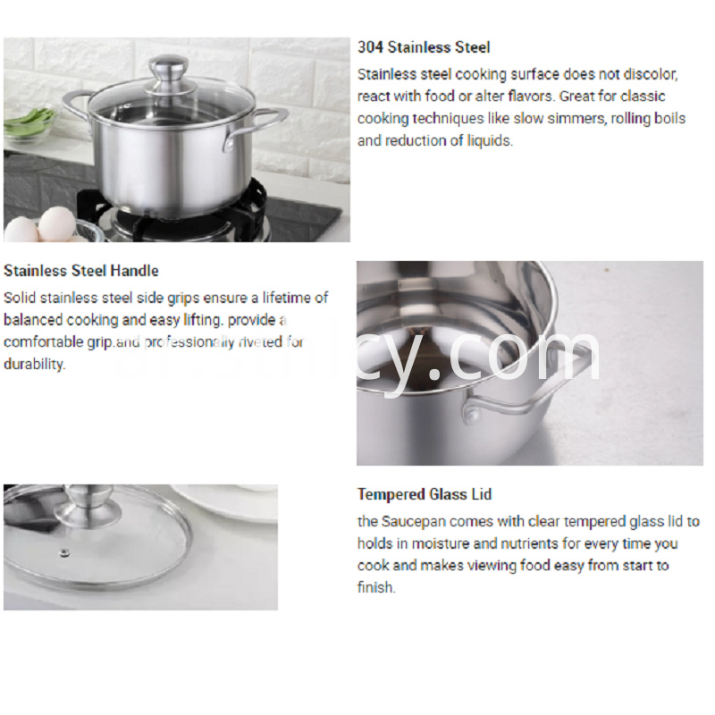 Double Handle Stainless Steel Cookware