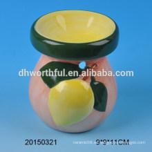 Home decoración quemador de aceite de cerámica con diseño de frutas