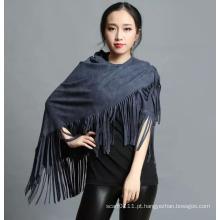Lady Fashion 100% poliéster camurça Nap Fringe Xaile (YKY4433)