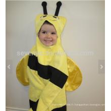Bee Beeed Towel - abeille jaune avec rayures noires et antennes, 100% coton