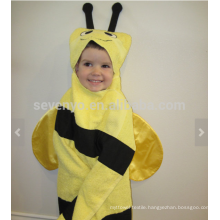 Bee Hooded Towel - yellow bee with black stripes and antennae, 100% cotton