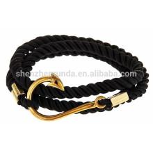 Venta al por mayor de accesorios de moda masculina pulsera pura cuerda ancla con pulsera de gancho de pescado de oro náutico joyería