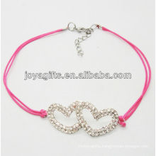 Rose wire diamante double heart alloy woven bracelet