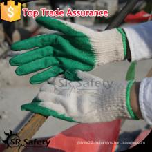 SRSAFETY EN388 натуральный поликоттон, окунающий зеленые латексные трикотажные перчатки