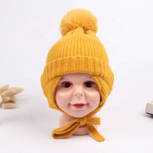 Hot Sale Baby Winter Rabbit Fur Pompom Knitted Earflap Hat Toddler Children Soft Thick Warm Lace-up Hats