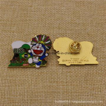 Badges de Doraemon en métal émaillé dur Rio 2016