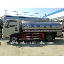 Fuente de la fábrica Euro III o Euro IV Dongfeng 5m3 camión cisterna de leche de acero para la venta
