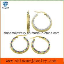 Shineme Joyería Pendiente de encargo de la joyería del acero inoxidable con el color CZ (ERS6926)