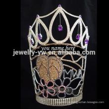Tiaras de moda por atacado pode escrever o seu nome grande coroa de cristal alta representação