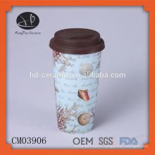 Tasse de café en céramique avec couvercle en silicone; tasse à double paroi incassable de 15 oz avec décalque, tasse en porcelaine avec couvercle en silicone