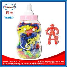 Nursing Bottle with Plastic Robot Toy Inside