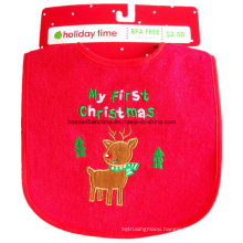 OEM Produce Customized Chistmas Embroidered Cotton Customized Festival Promotional Infant Bibs