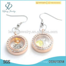 New design stainless steel rose gold crystal floating earring jewelry