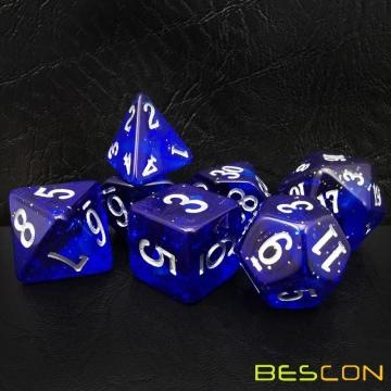 Bescon Super Glow in the Dark Nebula Glitter Polyhedral Dice Set DEEP SPACE, Luminous RPG Dice Set, Glowing Novelty DND Game Dice