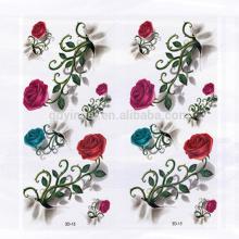 Conception fantaisie Rose avec des épines Motif de fleurs Autocollant de tatouage 3D imperméable à l'environnement pour les femmes
