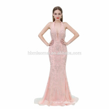 Ladies Sleeveless Embroidery Pink Color Maxi Long Evening Dress 2017