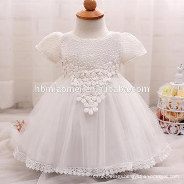 2017 new summer baby girl flower girl dress western wear short sleeve laced toddler girl dress for birthday party