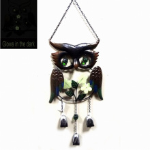 Metal Owl Windbell Craft Glow in The Dark Hanging Decoration