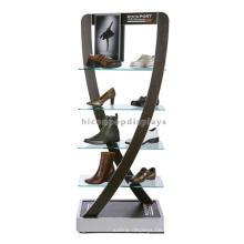 Metallrahmen Stylish Floor Standing Schuhe Einzelhandel Geschäfte Glas Schuh Rack Display