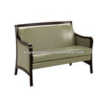 Shinny couro soild sofá moldura de madeira XY3379
