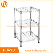 3 niveles de almacenamiento de estante de alambre, soporte de exhibición, estante de alambre
