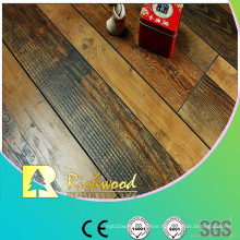 Commercial 12.3mm Hand Scraped Walnut V-Grooved Laminated Floor