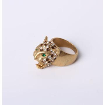Anillo de la joyería de la manera del diseño de la cabeza del tigre con los Rhinestones plateados oro