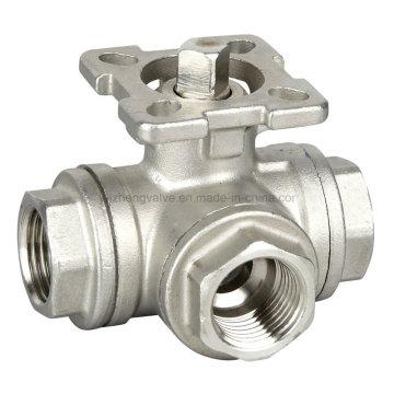 Válvula de esfera de aço inoxidável de 3 vias com almofada