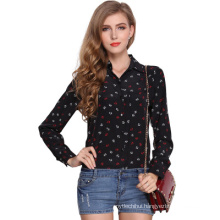 2017 hot selling ladies chiffon blouses elegant design printing long sleeve top women blouse