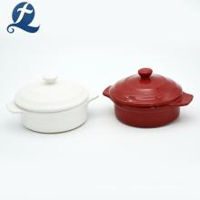 Cazuela de cerámica esmaltada redonda de color