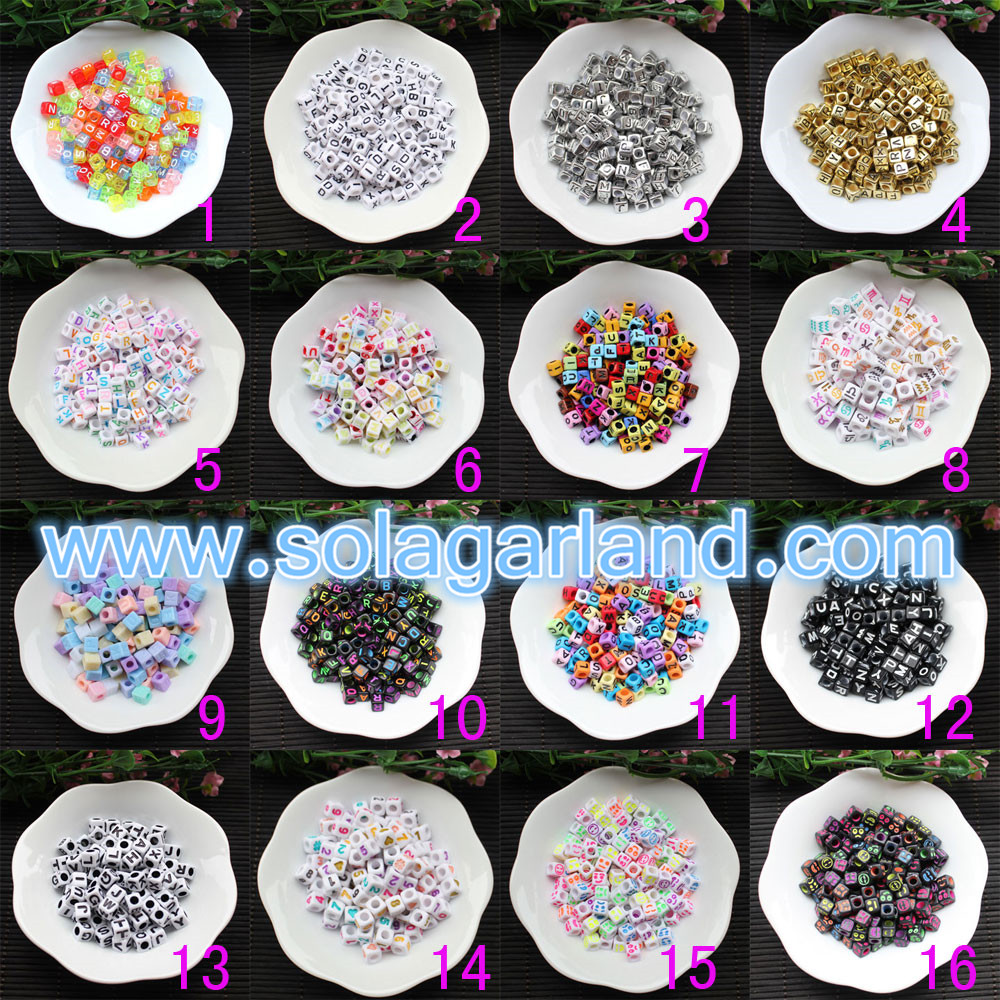 6*6MM Square Letter Beads