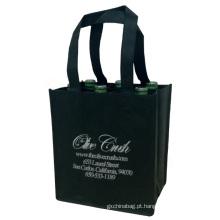 saco de compras não tecido de vinho preto 6 reciclado